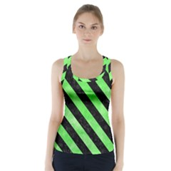 Stripes3 Black Marble & Green Watercolor (r) Racer Back Sports Top