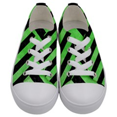 Stripes3 Black Marble & Green Watercolor (r) Kids  Low Top Canvas Sneakers