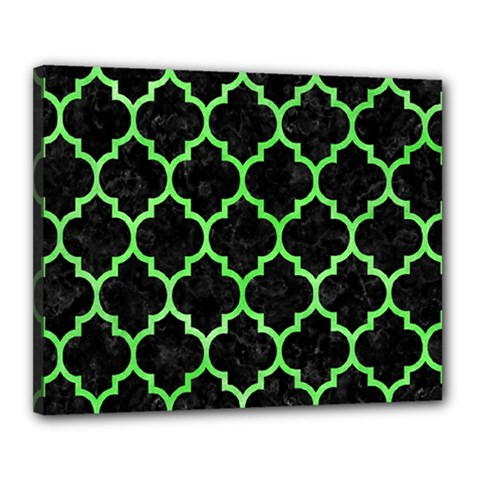 Tile1 Black Marble & Green Watercolor Canvas 20  X 16