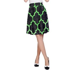Tile1 Black Marble & Green Watercolor A Line Skirt