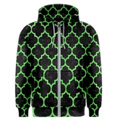 Tile1 Black Marble & Green Watercolor Men s Zipper Hoodie