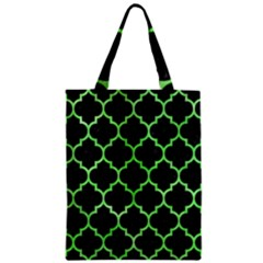 Tile1 Black Marble & Green Watercolor Zipper Classic Tote Bag