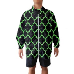 Tile1 Black Marble & Green Watercolor Wind Breaker (kids)