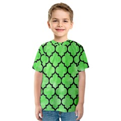 Tile1 Black Marble & Green Watercolor (r) Kids  Sport Mesh Tee