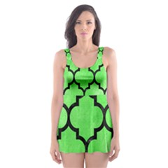 Tile1 Black Marble & Green Watercolor (r) Skater Dress Swimsuit