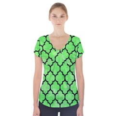 Tile1 Black Marble & Green Watercolor (r) Short Sleeve Front Detail Top