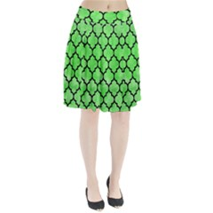 Tile1 Black Marble & Green Watercolor (r) Pleated Skirt