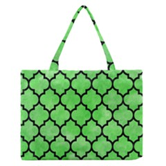 Tile1 Black Marble & Green Watercolor (r) Zipper Medium Tote Bag