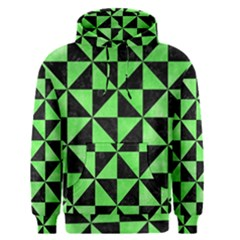 Triangle1 Black Marble & Green Watercolor Men s Pullover Hoodie