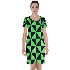 Triangle1 Black Marble & Green Watercolor Short Sleeve Nightdress