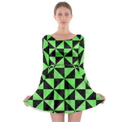 Triangle1 Black Marble & Green Watercolor Long Sleeve Skater Dress