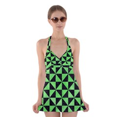 Triangle1 Black Marble & Green Watercolor Halter Swimsuit Dress