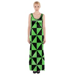 Triangle1 Black Marble & Green Watercolor Maxi Thigh Split Dress