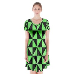 Triangle1 Black Marble & Green Watercolor Short Sleeve V Neck Flare Dress