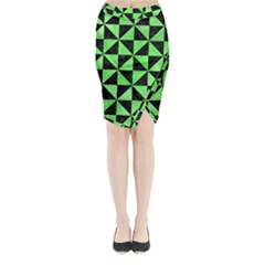 Triangle1 Black Marble & Green Watercolor Midi Wrap Pencil Skirt
