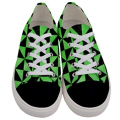 Triangle1 Black Marble & Green Watercolor Women s Low Top Canvas Sneakers