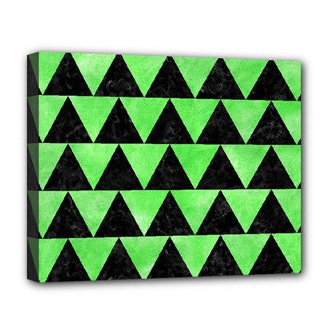 Triangle2 Black Marble & Green Watercolor Deluxe Canvas 20  X 16