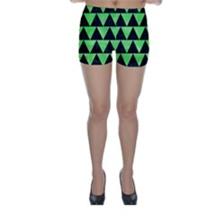 Triangle2 Black Marble & Green Watercolor Skinny Shorts