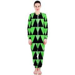Triangle2 Black Marble & Green Watercolor Onepiece Jumpsuit (ladies)