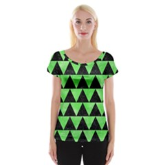 Triangle2 Black Marble & Green Watercolor Cap Sleeve Tops