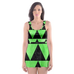 Triangle2 Black Marble & Green Watercolor Skater Dress Swimsuit