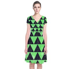 Triangle2 Black Marble & Green Watercolor Short Sleeve Front Wrap Dress