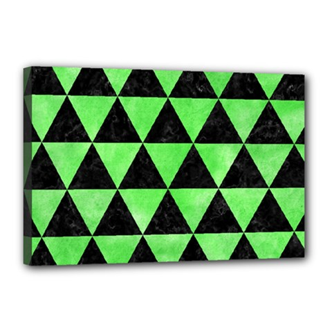 Triangle3 Black Marble & Green Watercolor Canvas 18  X 12