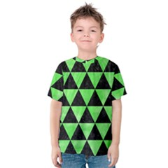 Triangle3 Black Marble & Green Watercolor Kids  Cotton Tee