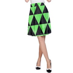 Triangle3 Black Marble & Green Watercolor A Line Skirt