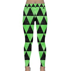 Triangle3 Black Marble & Green Watercolor Classic Yoga Leggings