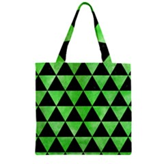 Triangle3 Black Marble & Green Watercolor Zipper Grocery Tote Bag