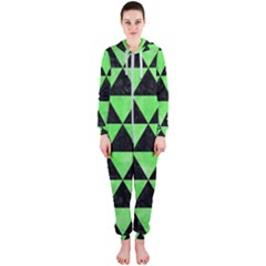 Triangle3 Black Marble & Green Watercolor Hooded Jumpsuit (ladies)