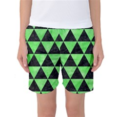 Triangle3 Black Marble & Green Watercolor Women s Basketball Shorts