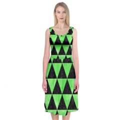 Triangle3 Black Marble & Green Watercolor Midi Sleeveless Dress