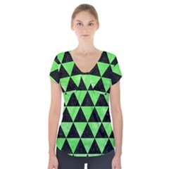 Triangle3 Black Marble & Green Watercolor Short Sleeve Front Detail Top