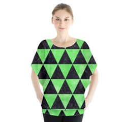 Triangle3 Black Marble & Green Watercolor Blouse