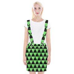 Triangle3 Black Marble & Green Watercolor Braces Suspender Skirt