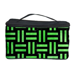 Woven1 Black Marble & Green Watercolor Cosmetic Storage Case