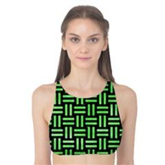 Woven1 Black Marble & Green Watercolor Tank Bikini Top