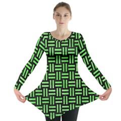 Woven1 Black Marble & Green Watercolor Long Sleeve Tunic
