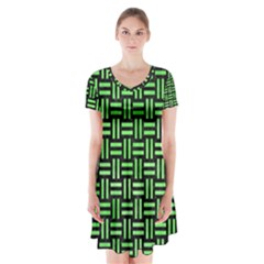 Woven1 Black Marble & Green Watercolor Short Sleeve V Neck Flare Dress