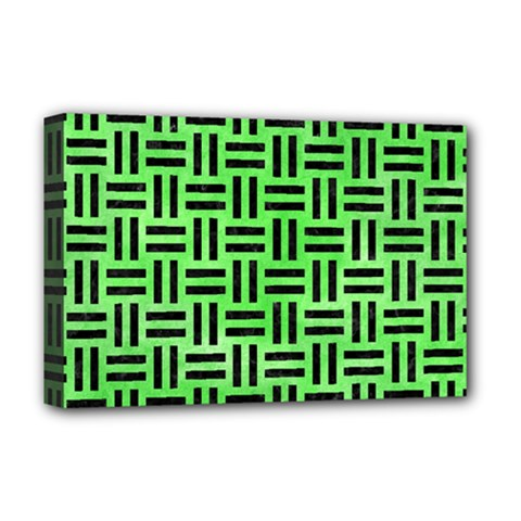 Woven1 Black Marble & Green Watercolor (r) Deluxe Canvas 18  X 12