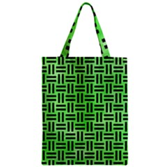 Woven1 Black Marble & Green Watercolor (r) Zipper Classic Tote Bag