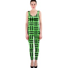 Woven1 Black Marble & Green Watercolor (r) Onepiece Catsuit