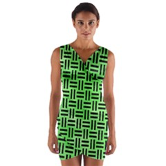 Woven1 Black Marble & Green Watercolor (r) Wrap Front Bodycon Dress