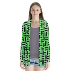 Woven1 Black Marble & Green Watercolor (r) Drape Collar Cardigan