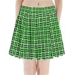 Woven1 Black Marble & Green Watercolor (r) Pleated Mini Skirt