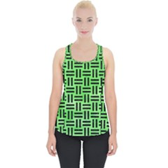 Woven1 Black Marble & Green Watercolor (r) Piece Up Tank Top