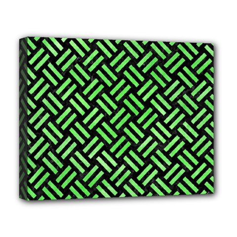 Woven2 Black Marble & Green Watercolor Deluxe Canvas 20  X 16