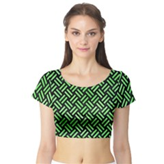 Woven2 Black Marble & Green Watercolor Short Sleeve Crop Top
